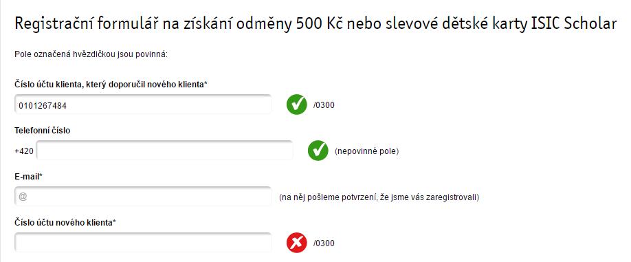 Vložte do formuláře uvedený číslo pro získání 500 Kč